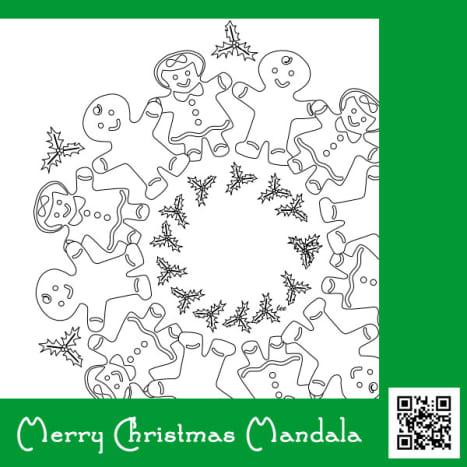 Merry Christmas Mandala, gingerbread cookies wreath coloring page