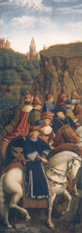 The panel of the Just Judges was stolen in 1934 and most of the photo's we have now are made of the copy painted during WO II by Jozef Vanderveken. Look closely at the fur hat of Jean Petit near the mouth of John the Fearless (judges in the centre of