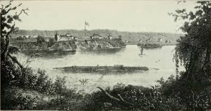 Old Fort Armstrong - Illustration in History of Iowa From the Earliest Times to the Beginning of the Twentieth Century - 1903