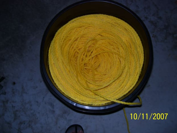 """Basket full of 5/8"""" or 1/2"""" Poly rope."""