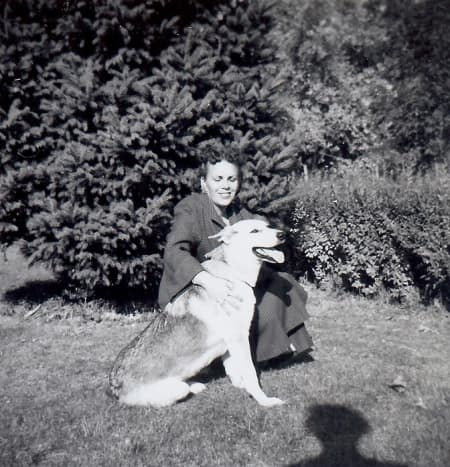 My mother and Sheba our German Shepherd