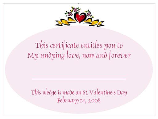 Valentine's Day Love Certificates Design 1