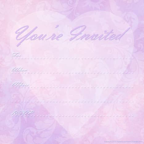 """Pink and purple heart and flowers free valentine party invitation -- """"You're Invited"""""""