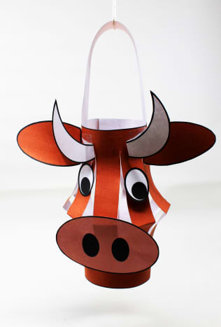 Here is a sample of the finished Year-of-the-Ox Lantern #1.