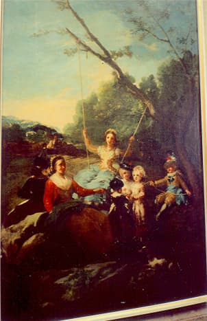 The Swing (a Cartoon for a tapestry) by Goya in the Prado Museum