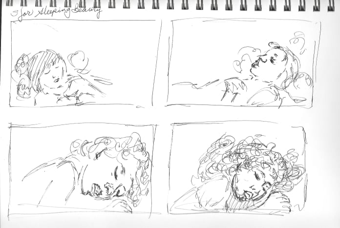 Rough Sketches for this Sleeping Beauty story