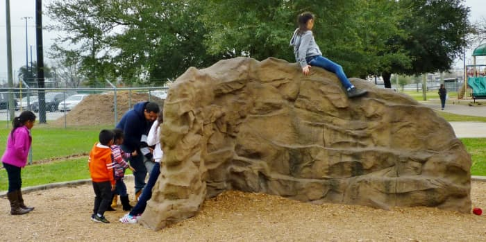 Child-sized rock climbing wall in the park