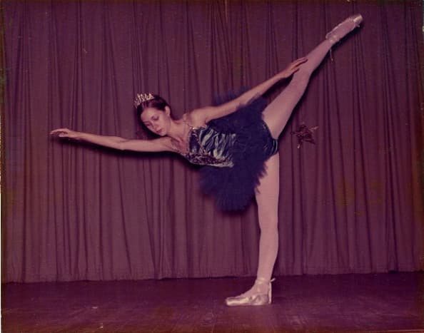 Here I am in 1973, wearing one of my favorite costumes--a royal blue tutu with sequins, and rhinestone tiara. Unfortunately, the picture has become faded and discolored over the years.