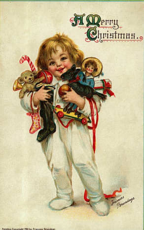 Free vintage Christmas cards: Little child in pajamas carrying antique toys