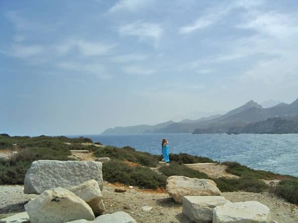 Theseus, you come back here! (Photo of me in ruined temple of Dionysos on Island of Naxos, where Theseus ditched Princess Ariadne)