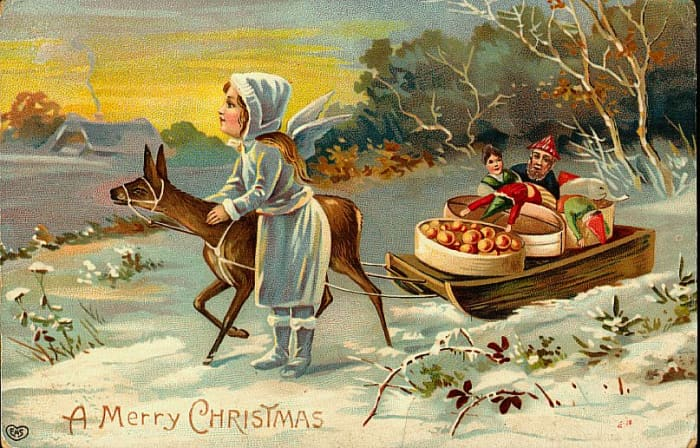Victorian Christmas card with little girl and deer in the snow with a sleigh full of toys and fruit