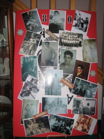 Poster board with family photographs