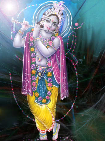 Contemporary lithograph of Lord Krishna photographed by Vinaya