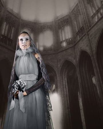 Gray Victorian ghost lady costume by Martha Stewart