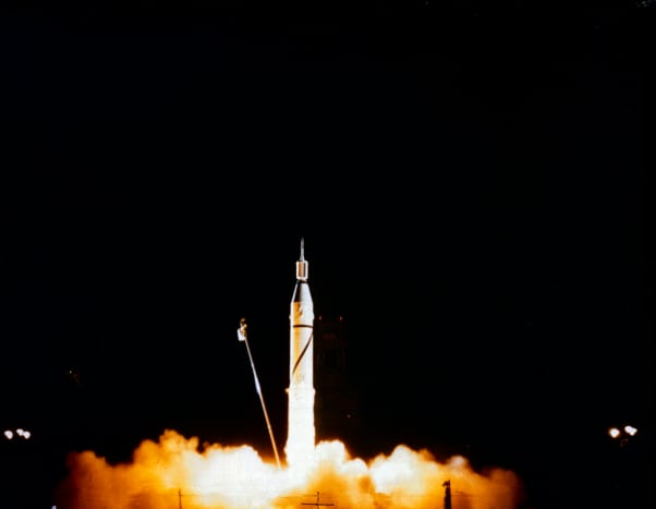 Launch of Jupiter-C/Explorer 1 at Cape Canaveral, Florida on January 31, 1958.