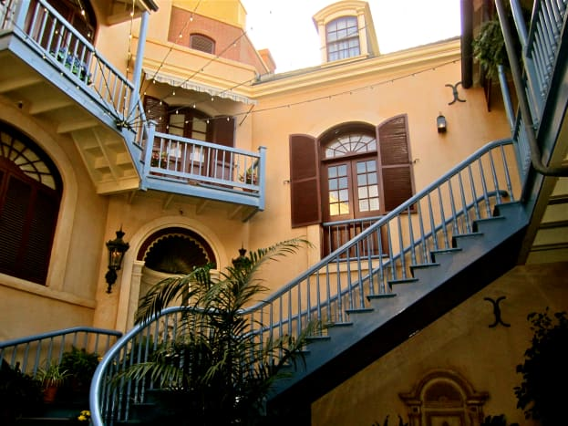 Another picture of the stairs and surrounding buildings.