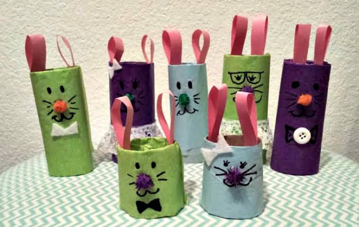 A family of bunnies for Easter.  This craft is popular on Pinterest for Easter.