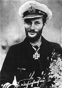 Kapitainleutnant Hans-Dietrich von Tiesenhausen wearing the Knights Cross he received for sinking the HMS Barham.