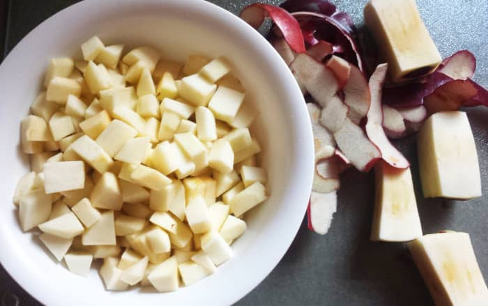Peel and chop 3 apples