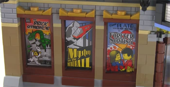 LEGO Creator Palace Cinema Modular Building | The three posters for upcoming movies are covering the windows and actually aren't prints but stickers on top of the glass pieces.