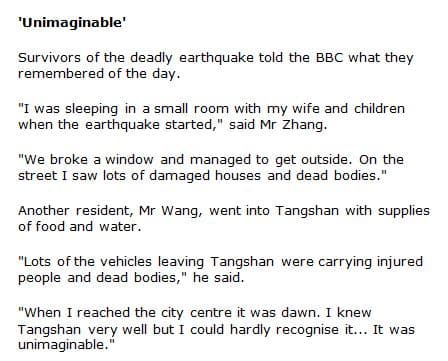 Eyewitness statements from survivors of the quake