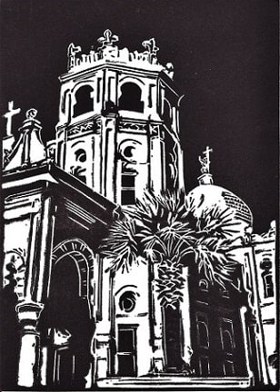 Original linocut I created of Sacred Heart Catholic Church in Galveston, Texas