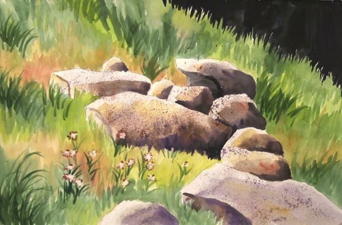 Splatter on the rocks