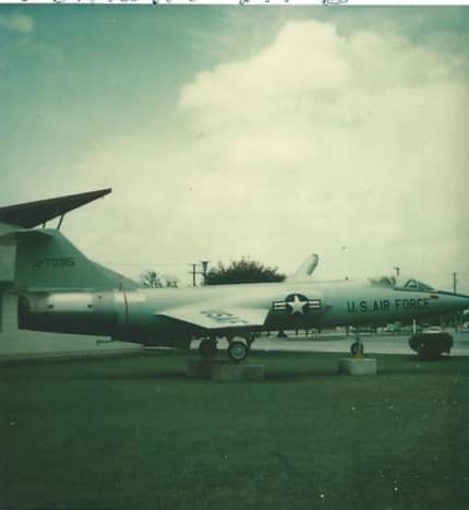 An F-104 on display at the Lackland AFB Museum, 1977.