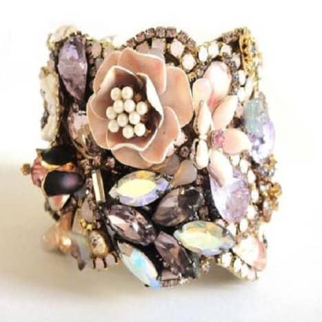 Vintage jewelry repurposed into a cuff bracelet by OOAKJewelz