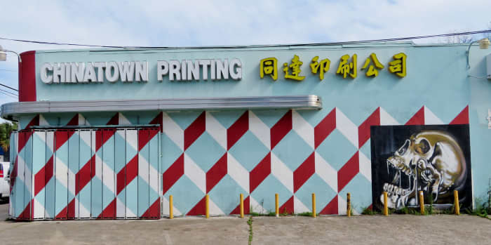 Red & Teal Diamonds on Chinatown Printing & Graphics building at 2102 Leeland Street in Houston