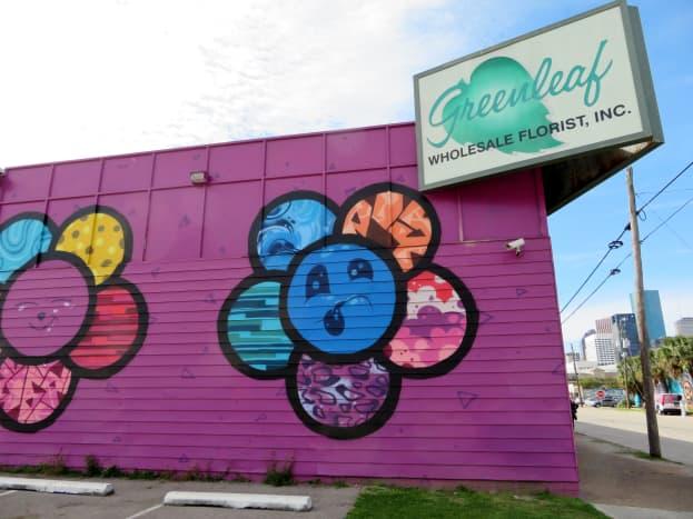 Portion of the Emoji Flowers Mural by Scott Tarbox at 2112 Leeland Street, Houston, Texas 77003