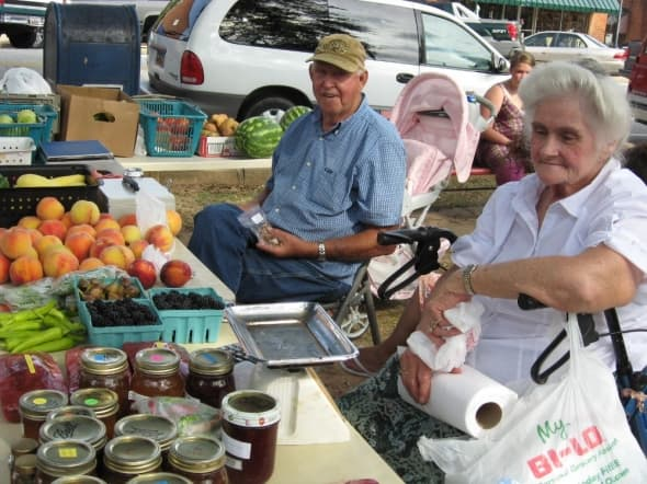 Carolyn Burdette with her Jams, Jellies, Breads, Veggies and Berries