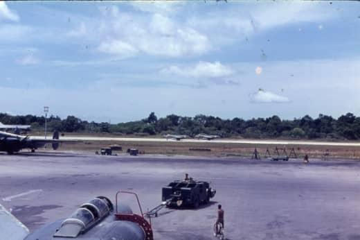 Scimitars taking off, Javelin being towed