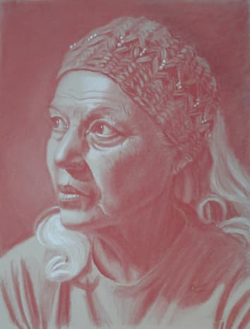 Red Pastel on grey toned paper.  This is a pastel drawing of my 76-year-old friend Lupe. I didn't soften any of her wrinkles or scars from a car crash because I felt they told a story about Lupe. If I had been commissioned to paint her portrait I wou