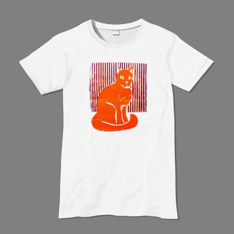 Cardboard block print, 2-color T-shirt print.