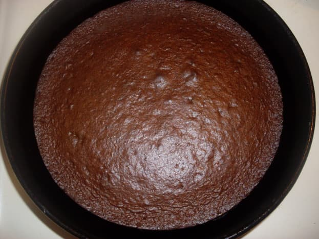 devil's food cake, fresh from the oven and ready to cool