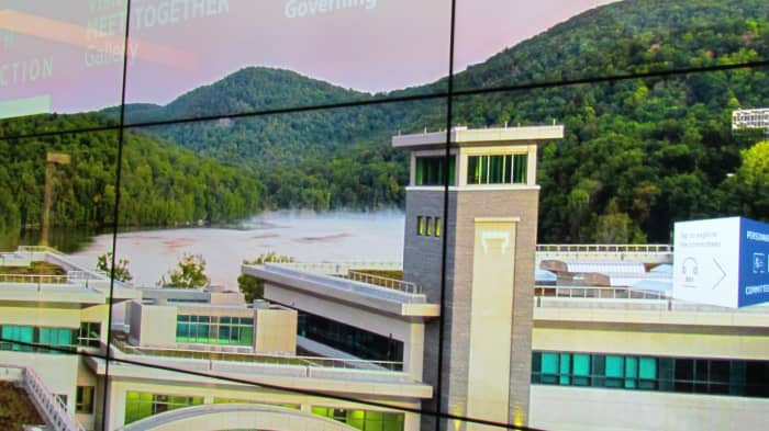 A photo that is featured of a tower at the facility of Jehovah's Witnesses Headquarters.