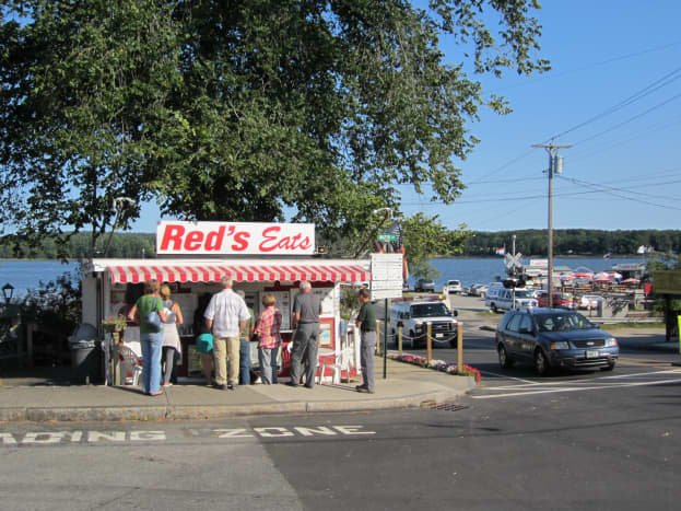 Red's Eats at the corner of Water Street and US Rt. 1 in Wiscasset, ME with the Sheepscot River in the distance.