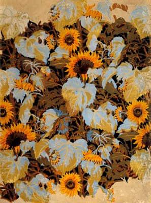 """Sunflowers"" Wallpaper Design by Charles Burchfield 1921"
