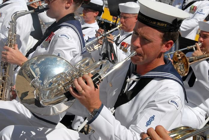 The Royal Australian Navy Band perform with the US Pacific Fleet Band at Peral harbor in 2008.