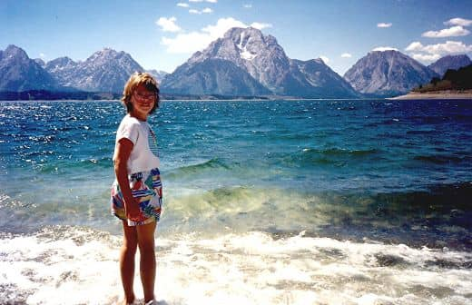 My niece at Jackson Lake in the Tetons