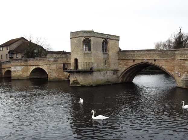 This strategically important bridge in St.Ives was blown up to protect the town from attack. Note the two different bridge arches.The left arches replaced the blown up section.