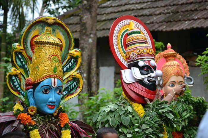 Kummattikali celebration masks, India