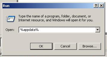 """Click on Start -  Click on Run -  In the box that appears, type %appdata% , click OK """"Windows XP"""" screenshot"""