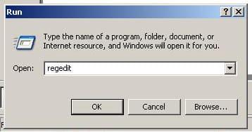 "Click on Start -  Click Run -  In the box that appears, type regedit -  Click OK ""Windows XP"" screenshot"