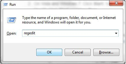 """Click on start, type run in the field at the bottom and hit enter. In the box that appears, type regedit and click OK """"Windows 7"""" screenshot"""