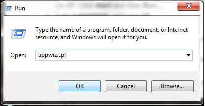 """Click on Start -  on the field box that appears, type Run and click OK. In the box that appears, type appwiz.cpl , click OK """"Windows 7"""" screenshot"""