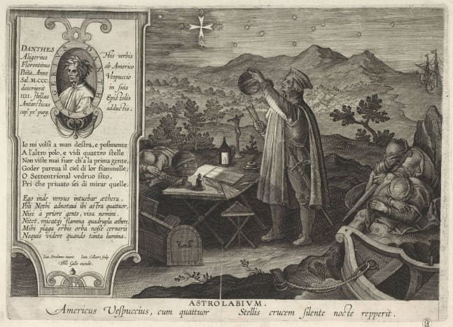 """Depiction of Amerigo Vespucci finding the Southern Cross constellation with an """"astrolabium""""."""