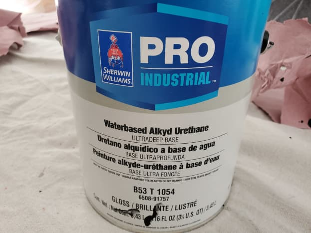 This article will review my experience using Sherwin Williams Pro Industrial Water-Based Alkyd Urethane Enamel.