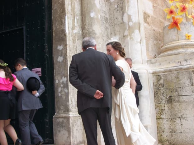 A Spanish wedding, here comes the bride.